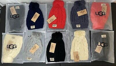 Nwt Women's Ugg Australia Cable Knit Pom Beanie Hat One Size Multiple Colors