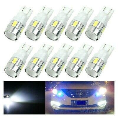 Bulb T10 158 168 192 194 W5W LED White DC 12V Car Wedge Side Light 6-SMD 5630