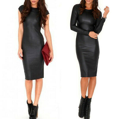 Damen Sexy Kunstleder Bleistift Kleid Kurzarm / Langarm Club Wet Look Bodycon