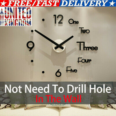 Large Wall Clock Modern Design 3D Quartz Wall Sticker Clock Silent Home Decor UK