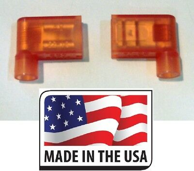 """(50) Red 18-22 Ga Female .250"""" Flag 90° Connector Fully Nylon Insulated USA Made"""