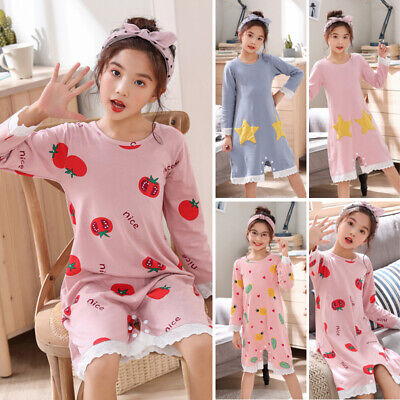 Kids Nightdress Girls Children Sleepwear Nightdress Long sleeve Pajamas