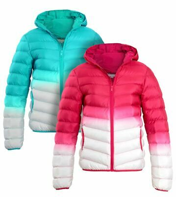 Girls Padded Puffer Coat Ages 7 8 9 10 11 12 13 Years Jacket Pink White Jade