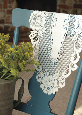 """SET OF 2 Heritage Lace White Vintage Rose 12""""x 24"""" Doilies - Made in USA!"""