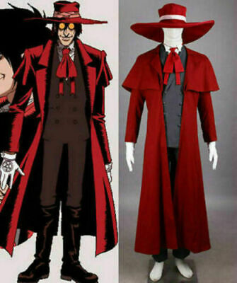 Anime Hellsing Cos Ultimate Alucard Cosplay Costume Red Over Coat With Hat
