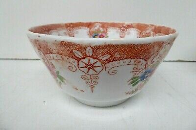 Antique Pottery Imari Floral Ceramic China Tea Bowl