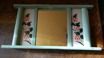 Antique Primitive Old Hand Painted Wooden Wall Hanging Mirror Rustic Style