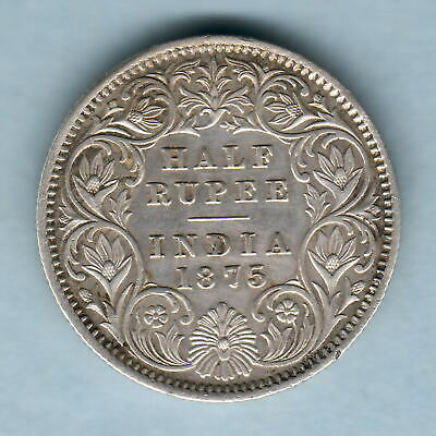 India. 1875-C Half Rupee..Bust A, Rev 1..  gVF - Trace Lustre