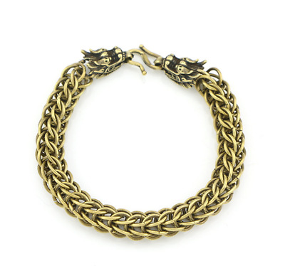 Personalized Retro Domineering Chinese dragon Brass Bracelet Pure Copper Solid