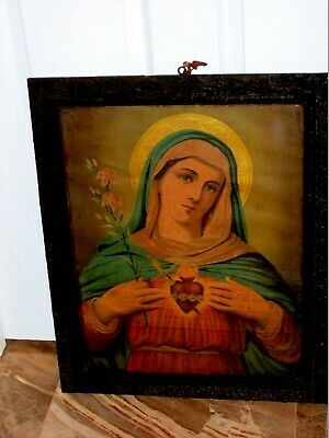 ANTIQUE 19 C Old Icon Immaculate Heart of the Blessed Virgin Mary Framed Print