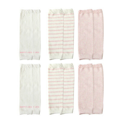 6 Pairs Baby Cotton Solid Color Stripe Mid-high Knee Pads Warm Crawling Socks