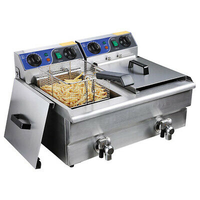 Commercial Electric Deep Fryers Fat Chip Single /Dual Tank Restaurant Frying UK