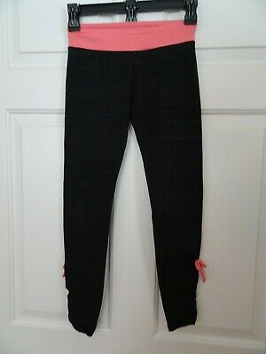 SO Girl's Size 10 Yoga Leggings-Black/Gray w. Pink Waistband-Ruched Leg Seams