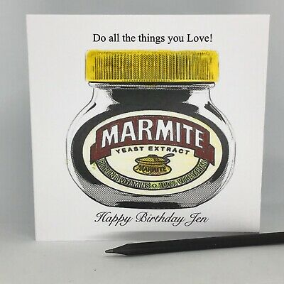 Personalised Birthday Card Handmade Marmite Theme Mum Dad Daughter Son Friend