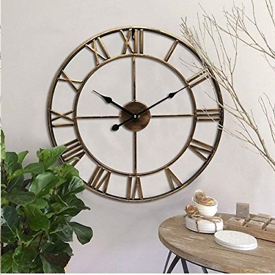 3D Wall Clock Roman Numerals Large Metal Round Black Rustic Open Face Jewelled
