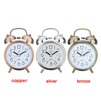 Retro Loud Double Metal Bell Mechanical Quartz Snooze Night Light Alarm Clock E