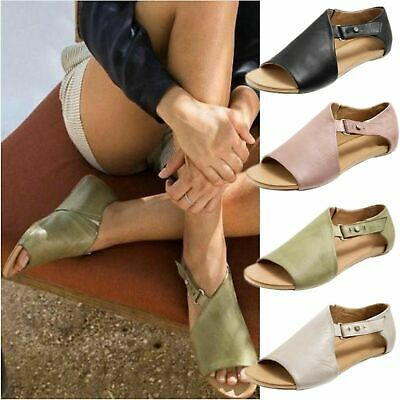 Womens Buckle Peep Toe Flat Sandals Ladies Summer Holiday Boots Shoes Size 3.5-8