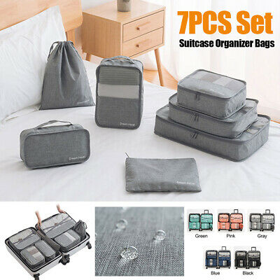 7Pcs Clothes Packing Luggage Storage Organiser Travel Compression Suitcase Bags