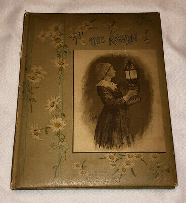 Antique 1891 1893 EDGAR ALLAN POE Illustrated THE RAVEN Gothic Horror Poetry