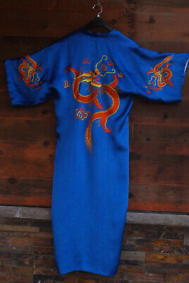 Vintage Golden Bee BLUE CHINESE SILK ROBE Kimono Hand Embroidered DRAGONS Med