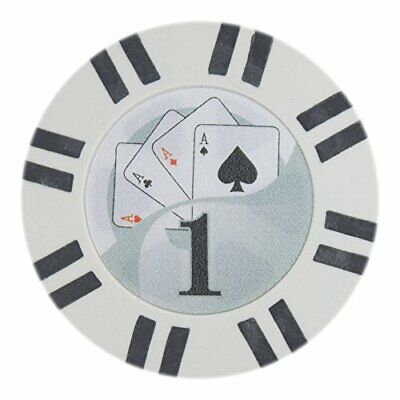 2 Stripe Twist 8g Poker Chips, $1 Clay Composite, 50-pack