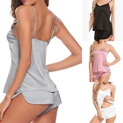 Casual Satin Lingerie Babydoll Sexy Cami Solid Pajama Sleepwear Women Shorts Set