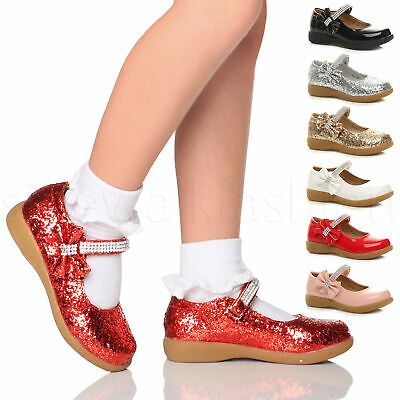 Girls kids childrens diamante bow mary jane glitter wedding party shoes size