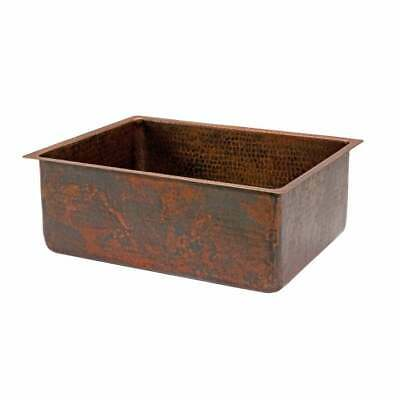 Premier Copper Products Hammered Copper 25-inch Single Basin Oil Rubbed, Bronze