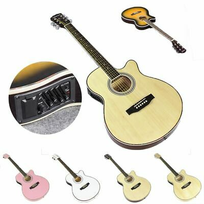 Acoustic Folk Guitar Electric 6 Steel String Pick Up Equipment Basswood 40 Inch