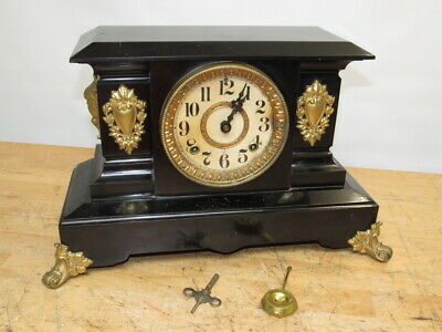 c1800s ANSONIA VICTORIAN BLACK ENAMELED CAST IRON MANTEL SHELF CLOCK SERVICED