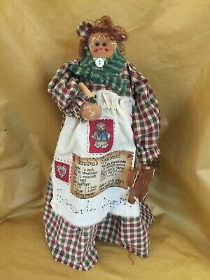 Primitive Homemade GRANDMA'S GINGERBREAD Doll with Recipe!
