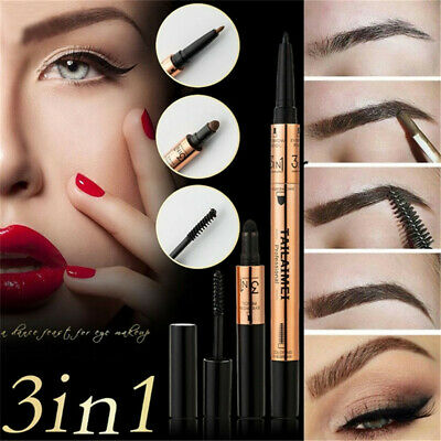 3 In 1 Eyeliner Pencil Eyebrow Powder Waterproof Brow Tattoo Gel Long-lasting