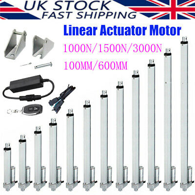 1000N-3000N Electric Linear Actuator Cylinder Lift Stroke 100-600mm + Bracket UK