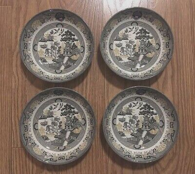"""4 x ROYAL STAFFORD Black Gold Willow Garden 9"""" Coupe Bowl Pasta Soup Salad NEW"""