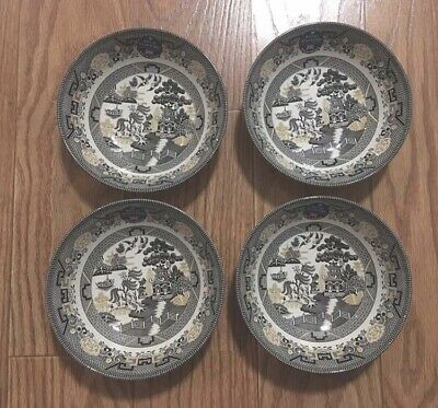"""4 x ROYAL STAFFORD Black Gold Willow Garden 7.5"""" Coupe Bowl Cereal Soup Salad"""