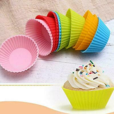 Silicone Muffin Cases Cupcake Mold Baking Reusable Heart Round Star DIY Dec B5T9