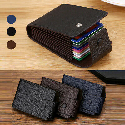 Mens Soft Quality PU Leather Wallet Credit Card Holder Bloking Buckle Purse UK