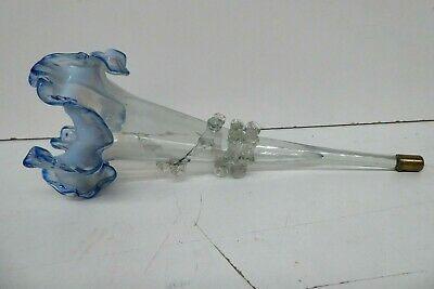 Antique Vaseline Glass Epergne Trumpet Ruffled Top