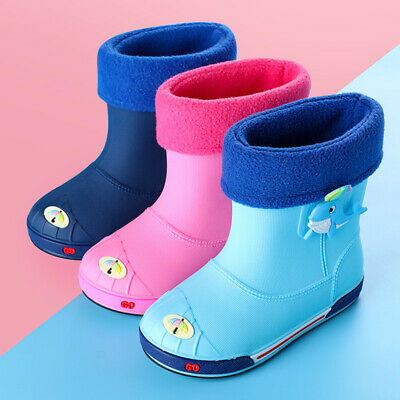 Kids Children Wellington Boots Boys Girls Rain Snow Anti-slip Wellies Shoes Size