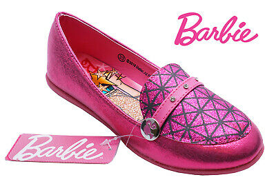 Girls Pink Barbie Flat Glitter Slip-On Party Childrens Shoes Cute Pumps Uk 10-2