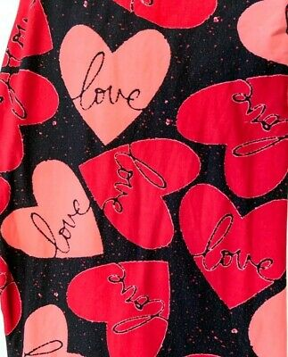 Valentines Leggings Hearts Love Black and Red by LulaRoe OS