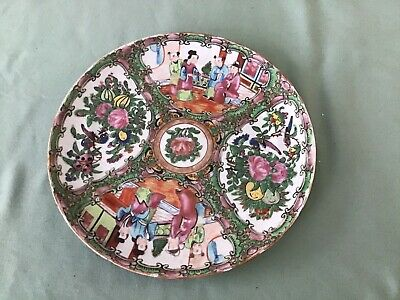 "Antique Chinese Export Rose Medallion Porcelain 8 1/2"" Plate 19th c"