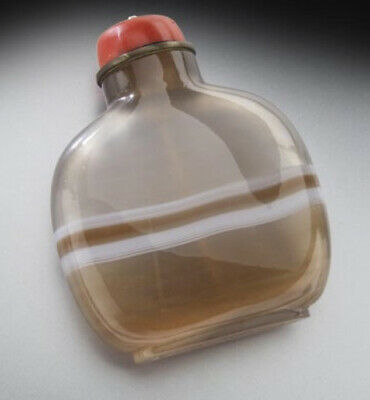 Antique Estate Banded Chinese well hollowed agate snuff bottle 19th Century