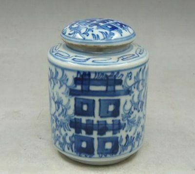 Chinese old Handmade painting flowers blue and white porcelain Tea caddy pot h9
