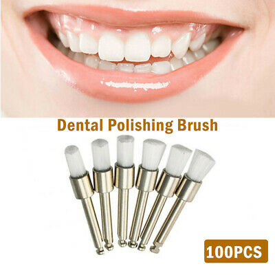 100Pcs Dental Prophy Latch Polisher Type Polishing Tooth Brushes White NEW