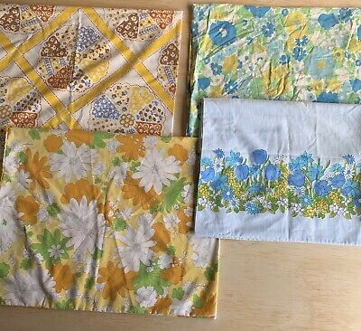 Lot of 5 Vintage Floral Hippie All Over Print 60's 70's Pillowcases Standard Sz
