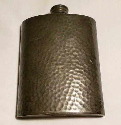 Vintage English Hammered Pewter Pocket Flask Screw Lid Cap