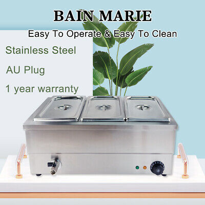 Electric Bain Marie Heat Hot Food Warmer Commercial Buffet 3*1/3GN Pan Trays Lid