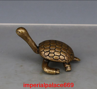 old China antique Pure copper solid Longevity turtle statue h76
