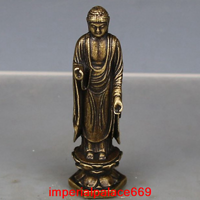 old China antique Pure copper solid stand Tathagata Buddha Buddha statue h84